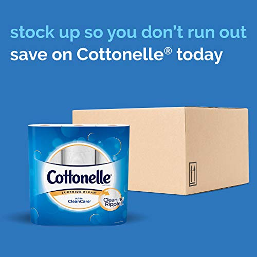 Cottonelle Ultra CleanCare Soft Toilet Paper with Act   ive CleaningRipples, 24 Family Mega Rolls