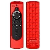 MoKo Custodia Protettiva per Fire TV Stick 4K, Fire TV Cube, Fire TV (3rd Gen) con TV Telecomando, Controllo Remoto Cover in Silicone Morbido Antiurto Anti-Scivolare - Rosso