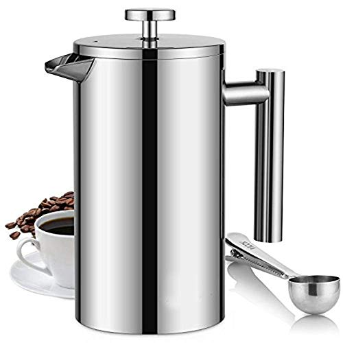 Why Choose French Press Coffee Maker Tea Pot 304 Stainless Steel Coffee Pot Household Double-layer I...