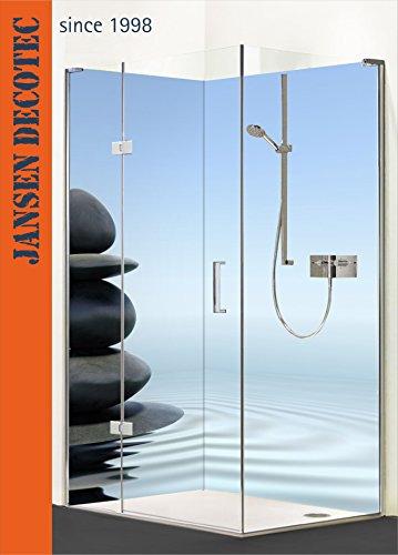 Eck - Duschrückwand, 2 Segmente je 90x200cm, Motiv: ZEN_Steine_Wasser - KOSTENLOSER Zuschnitt auf Ihr Wunschformat !