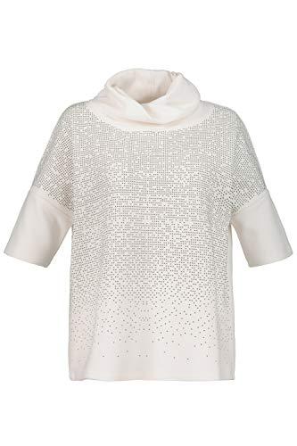 Ulla Popken Damen große Größen Sweatshirt mit Schmucksteinen weiß 46/48 724256 20-46+