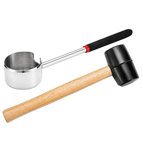 MOVKZACV Kokosnussöffner Kokosnuss Hammer Werkzeug Set, Langlebige Praktische Leichte Edelstahl Kokosnussöffner Holzhammer Werkzeug Set Household, gerät mit Handgriff + Hammer