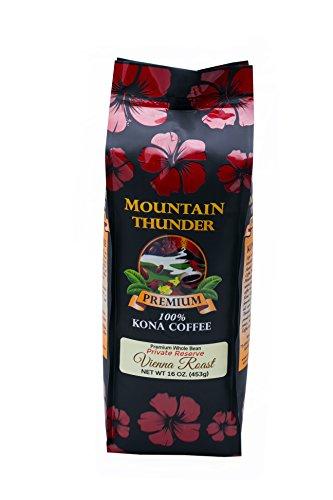100% Kona Private Reserve - 1 Pound Premium Gourmet Vienna Roast Whole Bean by Mountain Thunder Coffee Plantation