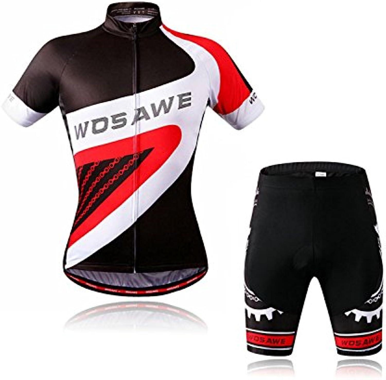 LiangyndaLian Sommer Herren und Damen Kurzarm Radtrikot Kit Quick Dry mit 4D Gel Pad Atmungsaktive Radfahren Rennanzüge