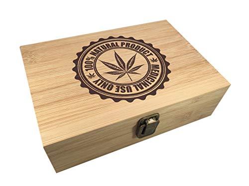 Bamboo Wood Hinged Cigar Storage Stash Box -8.5 x 6 x 2.5 Inches (Medical Marijuana)