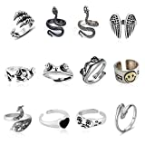 12 Pcs Silver Plated Frog Rings Set, Cute Animal Open Rings Pack, Vintage Goth Hippie Matching Rings, Cute and Stylish, Snake, Hug, Cat, Lucky Face Rings for Couples, Gift for Women Men Girls