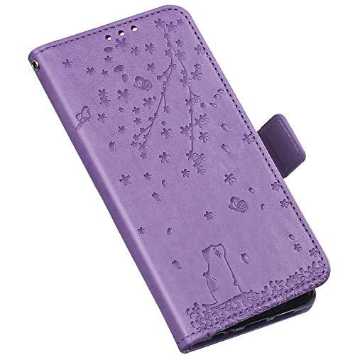QPOLLY Coque Compatible avec LG K40 Étui à Rabat, Mignon Chat Fleurs Imprimé Design Portefeuille Cuir PU Flip Bookstyle Carte de Crédit Case Leather PU Housse Étui de Protection,Violet