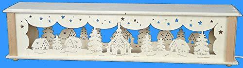 Verlichte stwibbogenerverhoging met Seiffener kerk en huis grootte = 52x10cm NIEUW Ertsgebergte accessoires lichtboog