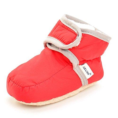 Enteer Infant Waterproof Snow Boots Premium Soft Sole Anti-Slip Warm Winter Prewalker Toddler Boots (7-12months, red)