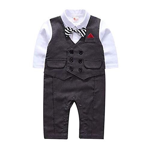 G-Kids Baby Jungen Strampler Gentleman Smoking Anzug Kleinkind Langarm Bekleidungsets Outfits Spielanzug Fliege Hochzeit Taufkleidung (Grau, 70/ 3-6 Monate)