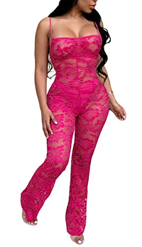 Chemenwin Damen Sexy ärmellos Spaghettiträger, florales Spitze, Lange Hose, figurbetont, Clubwear Jumpsuit - Rot - X-Groß