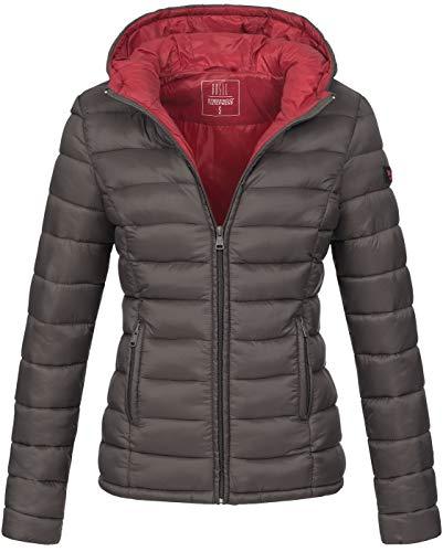 Marikoo Damen Jacke Steppjacke Herbst Winter Übergangsjacke gesteppt B651 [B651-Luc-Anthrazit-Gr.XXL]