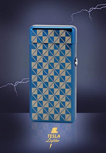 TESLA Lighter T08 Lichtbogen Feuerzeug, Plasma Double-Arc, elektronisch wiederaufladbar, aufladbar mit Strom per USB, ohne Gas und Benzin, mit Ladekabel, in edler Geschenkverpackung, Blau kariert