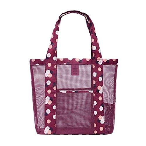 Fletion donne da ragazza Fashion Large mesh Beach Tote borse a tracolla da viaggio vacanza viaggio all' aperto Borsa da spiaggia borse borse di stoccaggio, Tessuto, Wine Red, 35 * 35 * 12