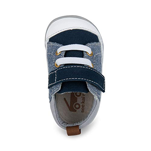 See Kai Run, Stevie II First Walker Sneakers for Infants, Blue Denim, 4 M Infant