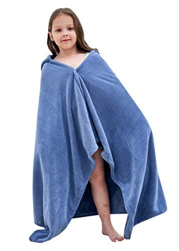EOZY Toalla con capucha para bebé de franela, para la playa y el baño, azul, M (70 x 140 cm)