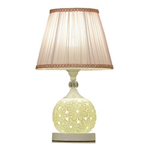 Lámparas de noche Europea Pastoral del viento Tabla dormitorio de la lámpara lámpara de mesa de tela de cerámica lámpara de cabecera Lámpara de mesa de noche