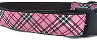 Plaid Dog Collar, Caninedesign, Pink, Blue, 1 inch Wide, Adjustable, Nylon, Medium and Large