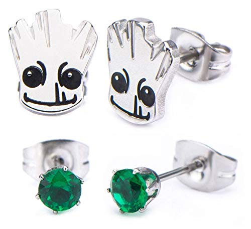 Women's Marval Guardians of The Galaxy Groot, Stainless Steel Stud Earring Set