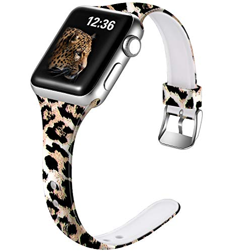 Laffav Compatible with Apple Watch Band 40mm 38mm iWatch Series 5 4 3 2 1 for Women, S/M, Classic Leopard