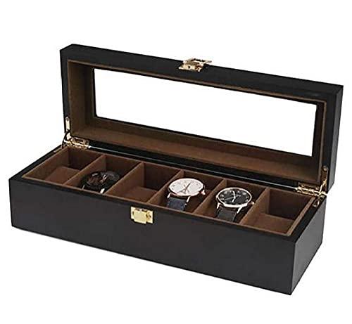 T.T-Q Caja de reloj de pintura en aerosol mate negra de 6 dígitos Cajas para relojes caja de exhibición de madera con concha caja de almacenamiento caja de regalo de cumpleaños joyero 31.5 * 11 * 9 cm