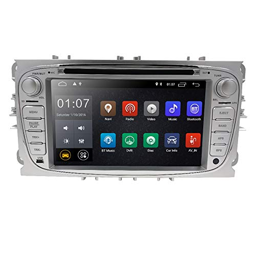 In Dash GPS DVD Player fit Mondeo S-max Focus Galaxy C-max Android 10 Car Radio Double Din Stereo 7 inch Touchscreen Support Mirror Link 4G WiFi USB SD CAM-IN OBD2 DAB+ DVR Silver Color