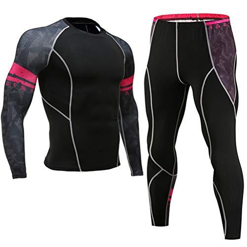 FZWAI Samengeperste kleding Mannen Sportwear Suit Joggen Thermisch ondergoed Suit man met lange mouwen panty's leggings korte (Color : D2, Size : M)