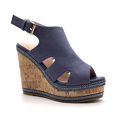 Angkorly - Damen Schuhe Sandalen Schuh-Mule - Gedeckt - Vintage/Retro - Plateauschuhe - mit Stroh - Kork Keilabsatz high Heel 12 cm - Blau MK573 T 40