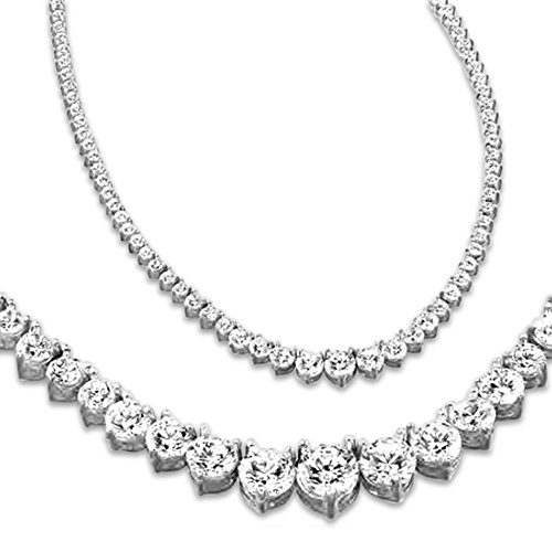 "8 Carat Round 14K White Gold 17""Graduate Diamond Tennis Riviera Necklace (J-K Color, I1-I2 Clarity) Graduating Value Collection 3 Prong"
