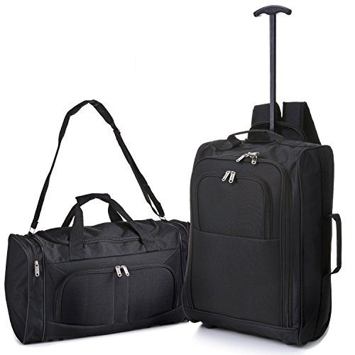 5 Cities Hand Luggage Cabin Bundle Sets Holdall Duffle Bag and Travel Trolley Backpack 2 & 3 Piece Sets for Easyjet/Ryanair! BP Trolley/Holdall Black
