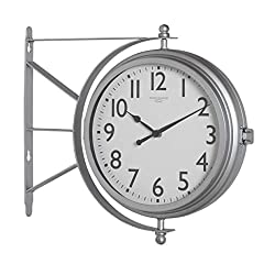 Silver Double Faced Metro Station Wall Clock Vintage Round Antique Thermometer Modern Office Industrial