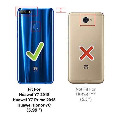 HOOMIL Handyhülle für Huawei Y7 2018 Hülle, Premium Leder Flip Schutzhülle für Huawei Y7 2018/Y7 Prime 2018/Honor 7C Tasche, Schwarz - 3