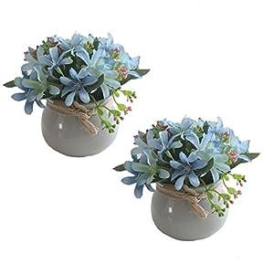 2PCS Artificial Silk Flowers Bouquet in Ceramic Vase Mini Potted Plant Faux Narcissus Floral Arrangement for Home Room Office Party Living Room Decor