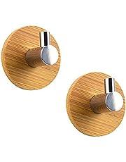 Firoya 2 stuks roestvrij staal bamboe hout metalen kledinghaken zelfklevend sterke wandhaken handdoekhaken niet geperforeerde ronde handdoekhaken klevender haken garderobedeur badkamer keuken haken