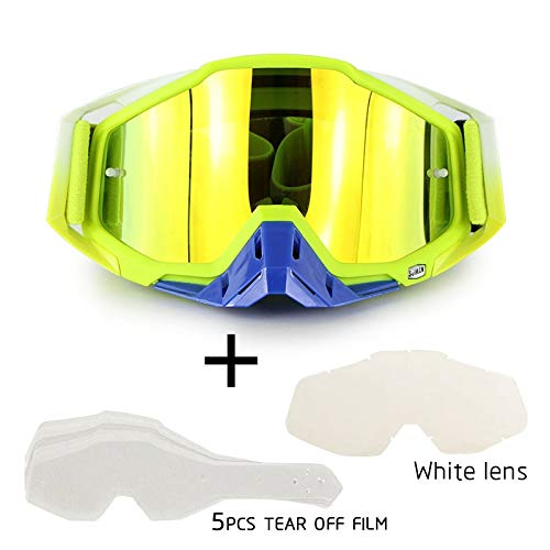OUYAWEI Motorrad-Cross-Country-Brille Outdoor-Brille Set mit transparenter Linse und zerreißbarer Folie Grüner Anzug