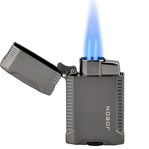 TOPKAY Torch Lighter, Butane Lighter, Windproof Double Jet Flame Torch Lighter, Refillable Gas Lighter, Cool Pocket Lighter (Double Torch)