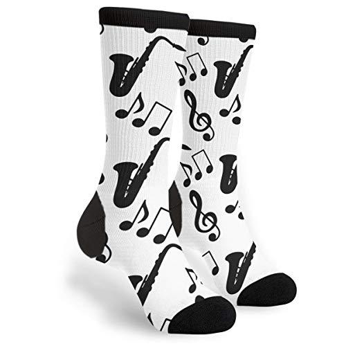 Musical Music Notes Treble Clef Saxophone Novelty Socks For Women & Men
