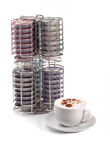 Porta Capsule Cialde da Caffè in Acciaio Inossidabile con Base Rotante a Doppio Strato Capacità: 48 cialde