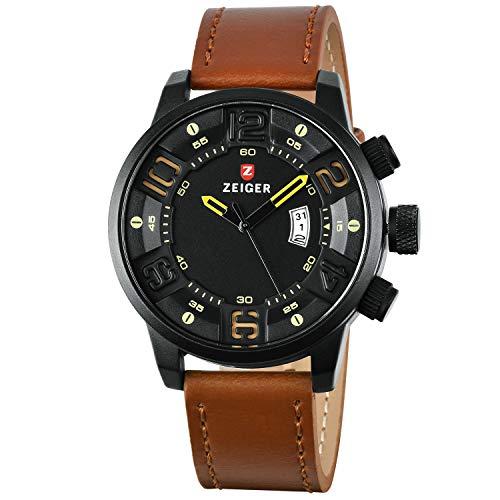 Zeiger W519 - Reloj de pulsera para hombre (cuarzo, analógico, esfera espacial, correa de piel, fecha, color marrón oscuro