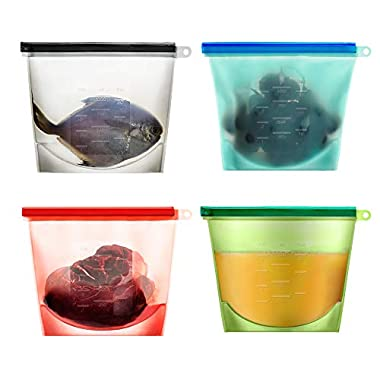 Reusable Silicone Food Storage Preservation Bags Container Versatile Cooking Bag for Freeze, Steam, Heat, Microwave Fruits Vegetables Meat Milk and More (Set of 4)