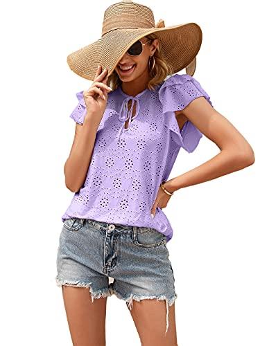 Tops Mujer Manga Corta Lindo Escote Hueco con Cordones Mangas De Loto De Doble Capa Mujer Shirt Simplicidad Diseño Exquisito Lúdico Moda Luna De Miel Citas Mujer Blusa D-Purple XL
