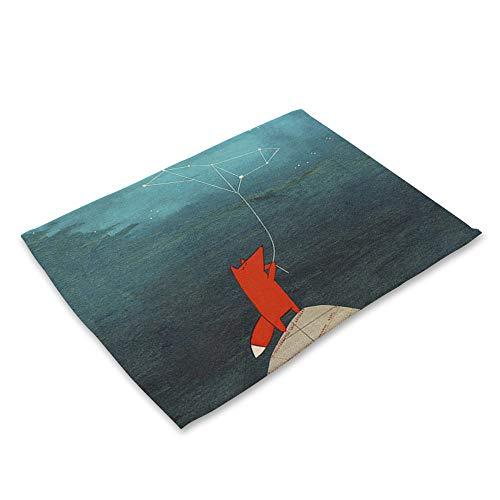 Mantel Individual Impreso,4 Piece Set Algodón Placemat Cartoon Fox Kite Imprimir Comida Occidental Mat Pad De Vajilla De Mesa De Aislamiento Ecológico Mat Plato De Comida Mat Impermeable Almohadil