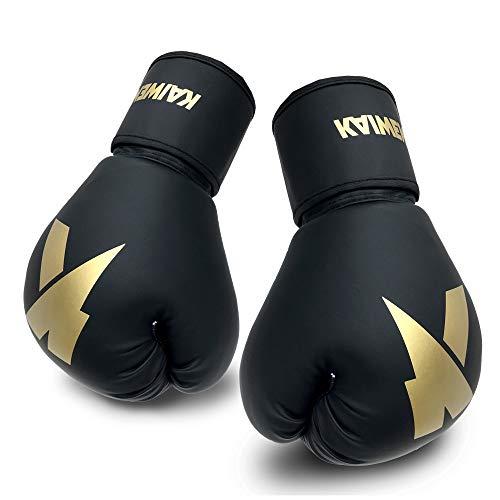Boxing Gloves (6oz, 8oz, 10oz, 12oz, 14oz, 16oz) Punching Bag Mitts, Muay Thai,UFC MMA Kickboxing Fight Training Gloves by KAIWENDE-BX01 (HJ-Golden, 16oz)