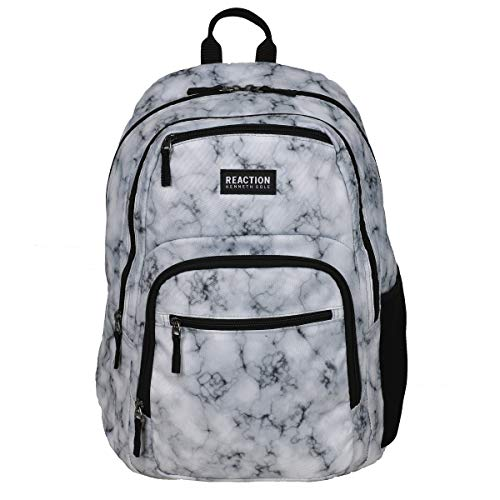 """Kenneth Cole Reaction Printed Dual Compartment 16"""" Laptop & Tablet Backpack for School, Travel, Work, White Marble, Laptop"""