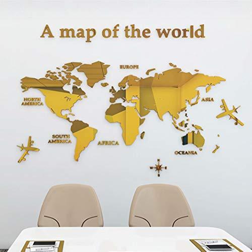 3D Stickers Muraux Carte du Monde Stickers DIY Mural Autocollants Carte Arts Décoration de la Maison pour Chambre, Salon, Chambre Enfants, Cadeau de Noel(M,Or)