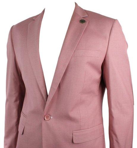 Mens Powder Pink Blazer Veste Manteau 1 Bouton Slim Fit Smart Casual