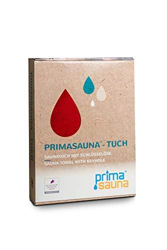 primasauna Saunatuch für Damen und Herren mit innovativer Öse + Namensetikett - Saunahandtuch 210 x 80 cm - Großes XXL Premium Badetuch Handtücher aus Baumwolle - saugstark flauschig weich - Rot