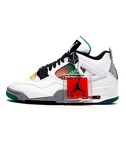 Nike Da Donna Air Jordan 4 Retro Da Donna Aq9129-100, bianco (Bianco/Nero-Università Rosso-Verde lucido), 38 EU