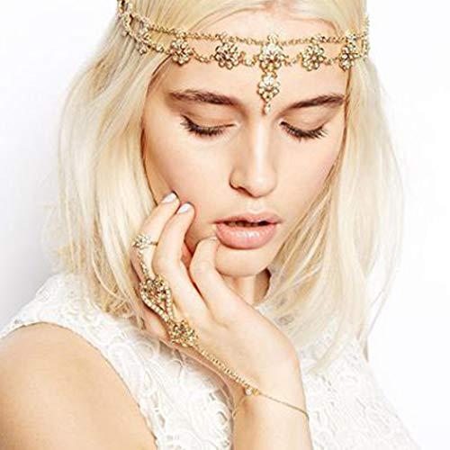 Jovono Boho Blumenkopfkette Perlen Stirnband Mode Haarschmuck für Frauen und Mädchen (Gold)