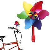 Mini-Factory Bike Handlebar Pinwheel for Kids, Bike Accessory Decoration Wind Spinner for Kid's Bicycle (Rainbow Stripes)